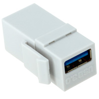 USB 3.0 A Female to A Female Gold Plated Modular Keystone Jack - White