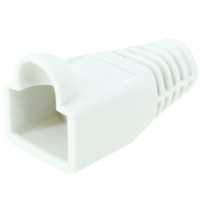 8P8C Strain Relief Boot for Cat5e, OD: 6mm, White - 50pcs/pack