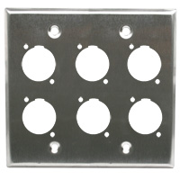 Dual Gang 6 Opening XLR Wall Plate, Stainless Steel (For PVP555A-N, PVP561-N) Neutrik type