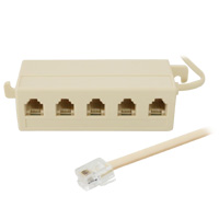 5-outlet Junction Box with 4ft Line Cord 6P4C, Beige