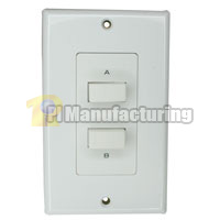 2-Pair Speaker Selector Switch Wall Plate, Push-Button Type, 100w Per Channel