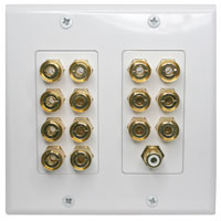 Decora Type 14 Port with 1 RCA Dolby Digital 7.1 Home Theater Binding Post Speaker Terminal Wall Plate