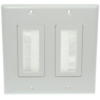 2-Gang Wall Plate with Brush Bristles - White