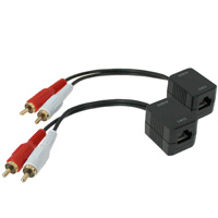 Composite Audio (RCA L/R) Stereo Extender Over Ethernet Cable (up to 250ft)