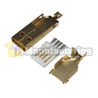 USB Type A Male Solder Type Connector 30u Gold, Gold Housing