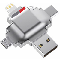 MicroSDXC Card Reader for Mobile Devices (Lightning, USB-C, Micro-USB, USB), 4-in-1 Interface