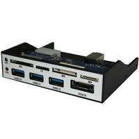 Front Panel 3.5inch Card Reader and 4 port USB 3.0 Hub Combo