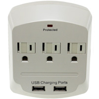 3 Outlet Surge Protector Wall Tap with Dual USB Charging Ports (2A), ETL Listed