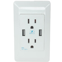 2 Port USB Charger with Dual AC 110-120V 15A Outlet Wall Plate
